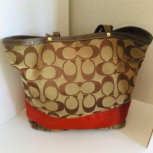 Coach Signature Tote Brown /Khaki Red  X Large